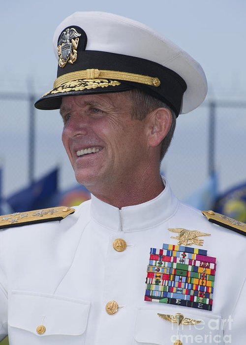 Military Greeting Card featuring the photograph Admiral Eric T. Olson Speaks by Michael Wood