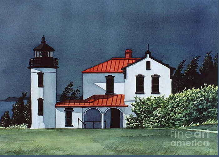 Lighthouse Greeting Card featuring the painting Admiralty Head Light by Scott Nelson