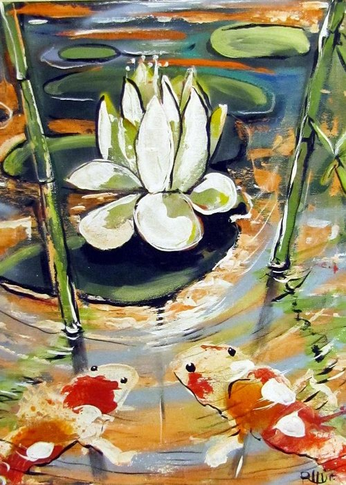 Contemporary Greeting Card featuring the painting Admiring A Lotus by Robert Wolverton Jr