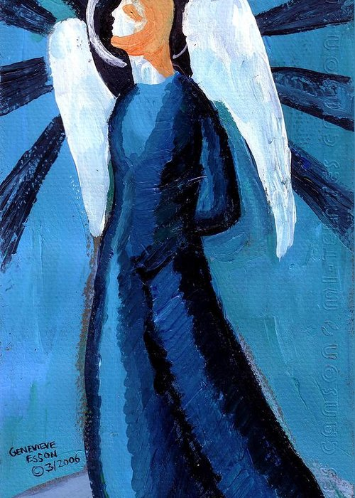 Angel Greeting Card featuring the painting Adrongenous Angel by Genevieve Esson