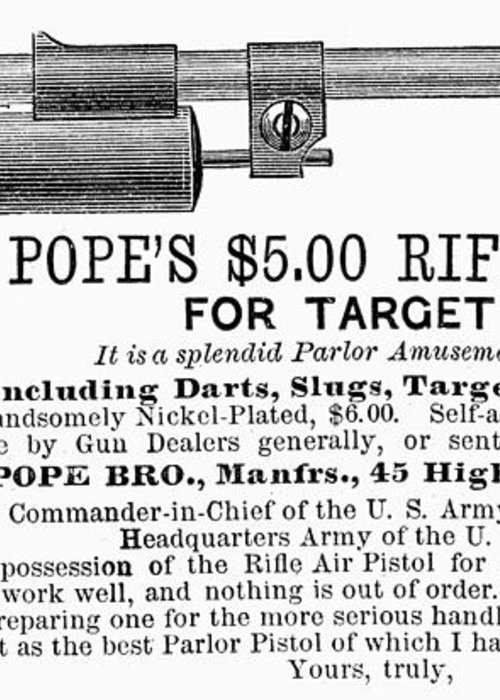 1875 Greeting Card featuring the photograph Advertisement: Air Pistol by Granger