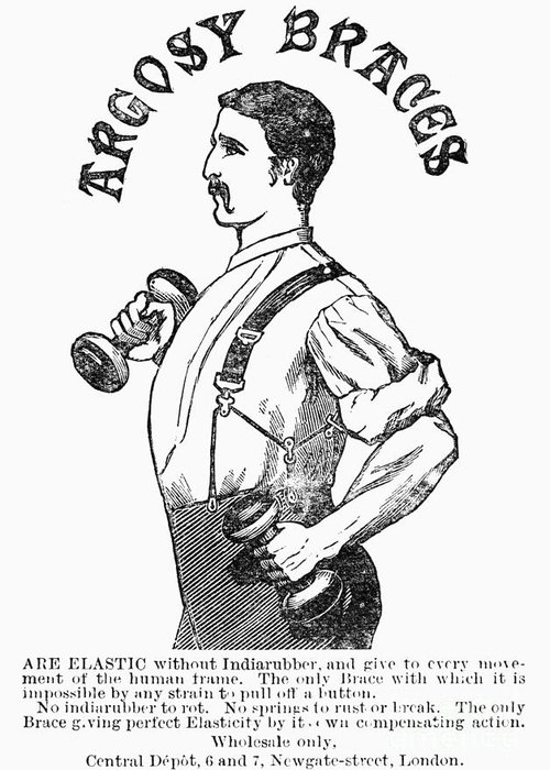 1883 Greeting Card featuring the photograph Advertisement: Suspenders by Granger