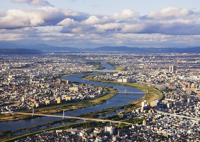 Aerial Greeting Card featuring the photograph Aerial Japanese Cityscape And River by Jeremy Woodhouse