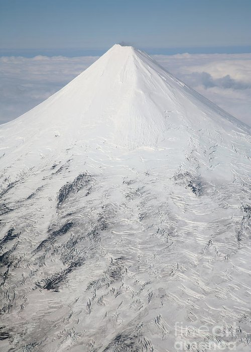 Nature Greeting Card featuring the photograph Aerial View Of Glaciated Shishaldin by Richard Roscoe