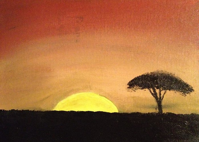 Landscape Greeting Card featuring the painting African Sunset by Jonathan Fussell