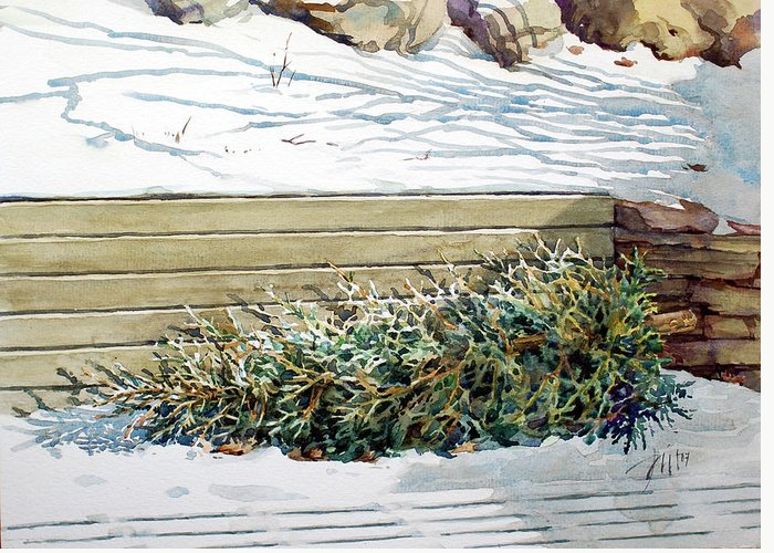 Peter Sit Watercolour Greeting Card featuring the painting After Christmas by Peter Sit