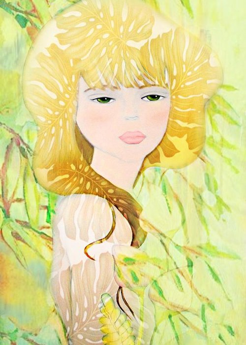 Botanical Greeting Card featuring the painting After The Rain by Barbie Guitard