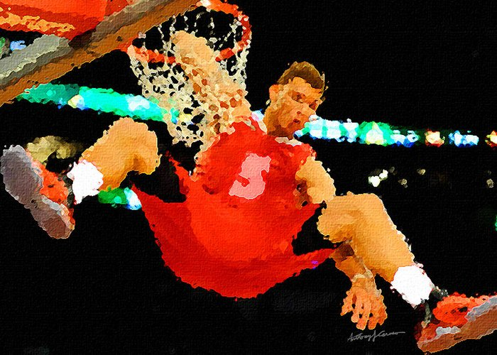 Sports Greeting Card featuring the painting After The Slam Dunk by Anthony Caruso
