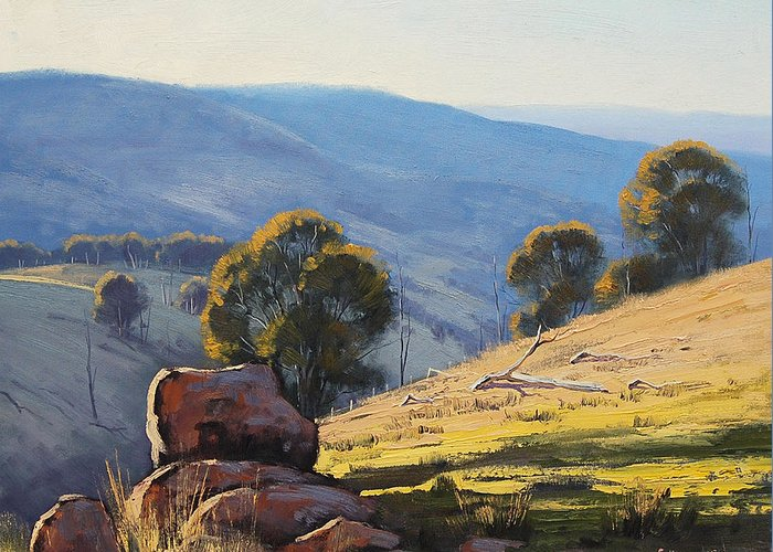 Central Tablelands Greeting Card featuring the painting Afternoon Light Turon Hills by Graham Gercken