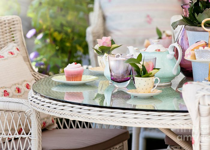 Dining Greeting Card featuring the photograph Afternoon Tea And Cakes by Simon Bratt Photography LRPS