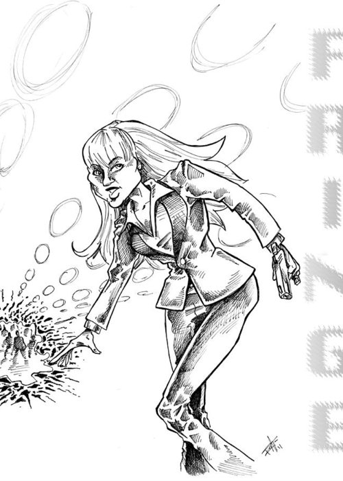 Fringe Alien Greeting Card featuring the drawing Agent Dunham by Big Mike Roate