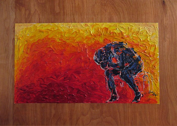 Figure Greeting Card featuring the painting Agony Doubled Over In Flames On Wood Panel by M Zimmerman