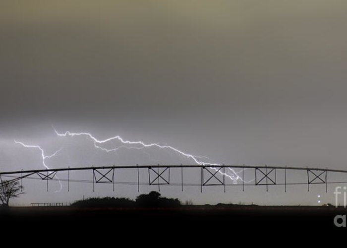 Agricultural Greeting Card featuring the photograph Agricultural Irrigation Lightning Bolts by James BO Insogna