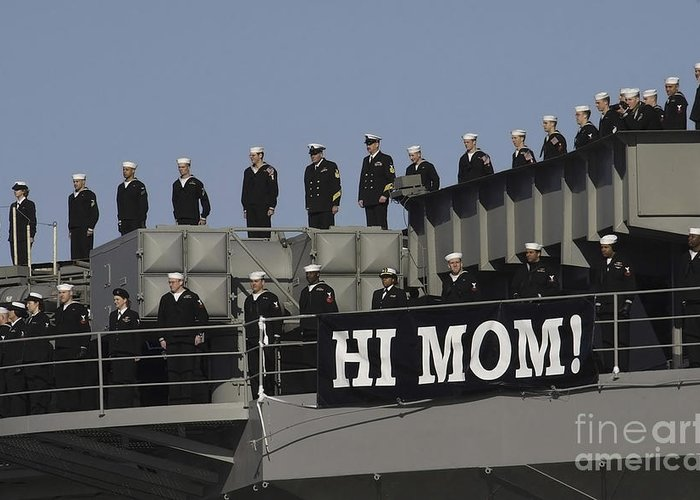 Horizontal Greeting Card featuring the photograph Ailors And Marines Man The Rails Aboard by Stocktrek Images