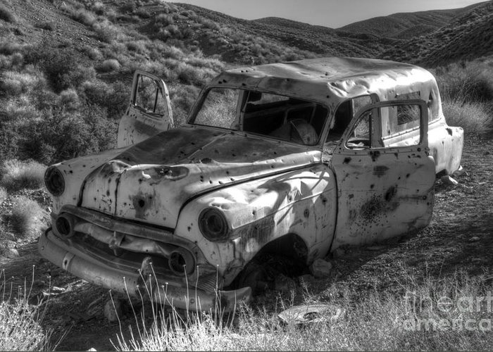 Old Cars Greeting Card featuring the photograph Air Conditioned By Bullet by Bob Christopher