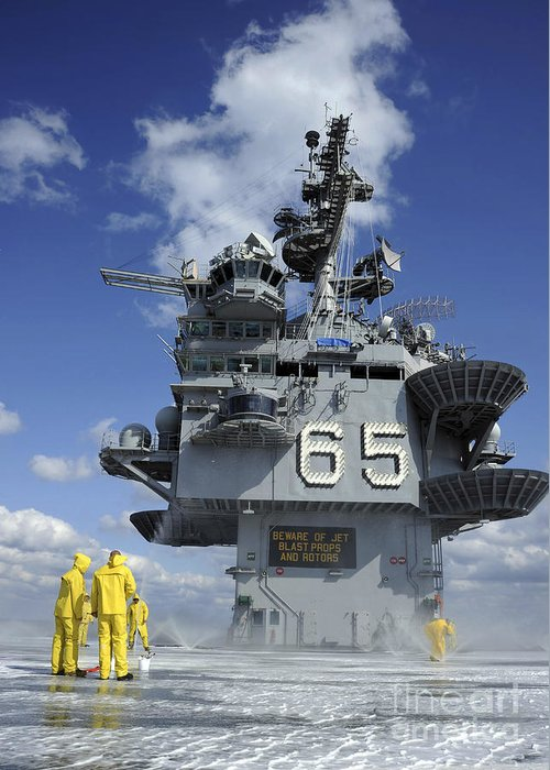 Flight Deck Greeting Card featuring the photograph Air Department Sailors Test by Stocktrek Images