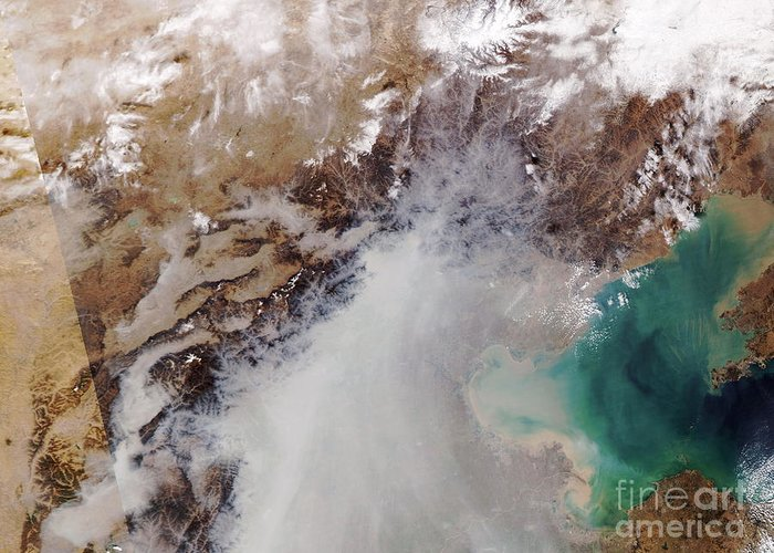 03/11/2004 Greeting Card featuring the photograph Air Pollution Over China by NASA / Science Source