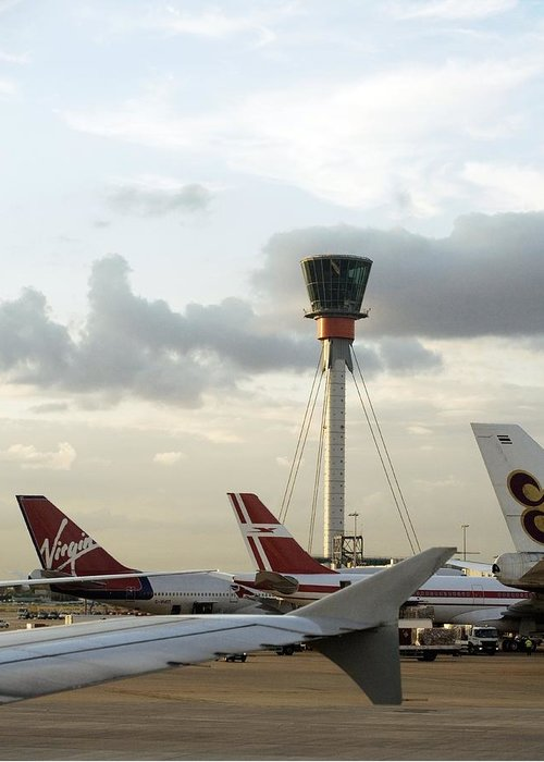 London Heathrow Airport Greeting Card featuring the photograph Air Traffic Control Tower, Uk by Carlos Dominguez