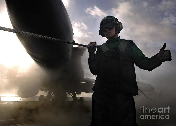 Horizontal Greeting Card featuring the photograph Airman Holds Up The Safety Shot Line by Stocktrek Images
