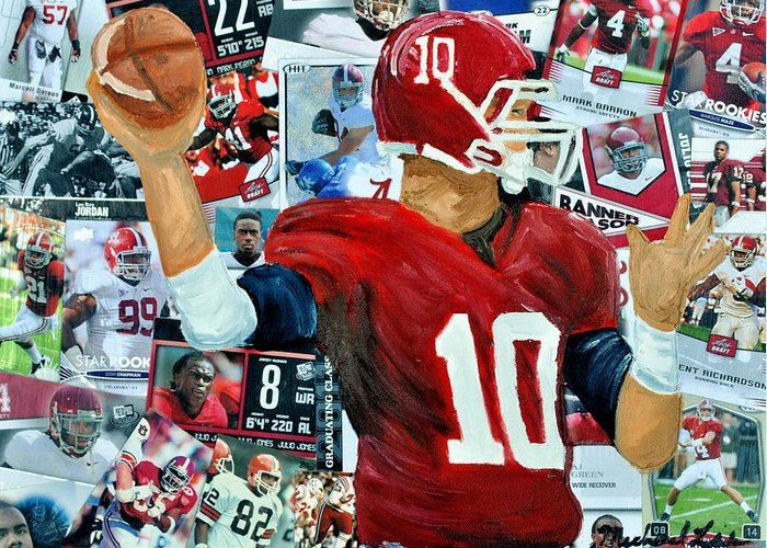 Football Greeting Card featuring the painting Alabama Quarter Back Passing by Michael Lee
