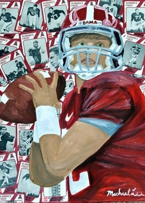 Alabama Greeting Card featuring the painting Alabama Quarterback by Michael Lee