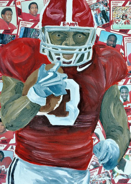 Football Greeting Card featuring the painting Alabama Running Back by Michael Lee