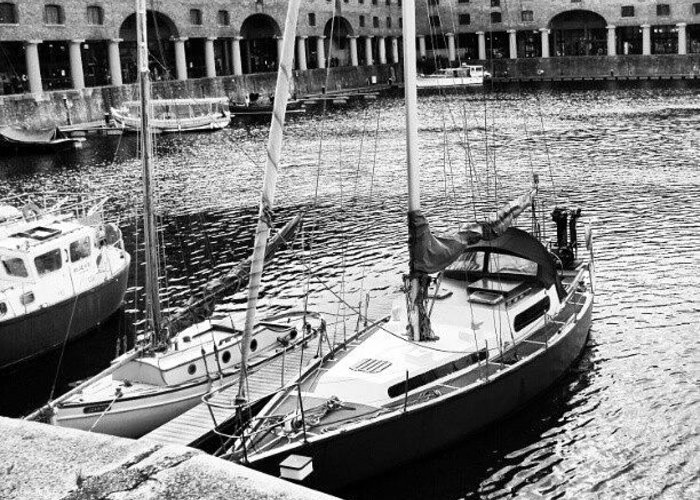 England Greeting Card featuring the photograph #albertdock #liverpool #harbor #boat by Abdelrahman Alawwad