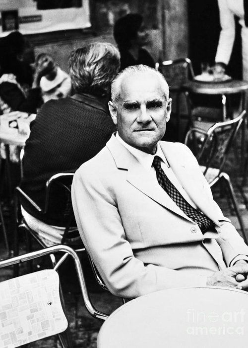 20th Century Greeting Card featuring the photograph Alberto Moravia (1907-1990) by Granger