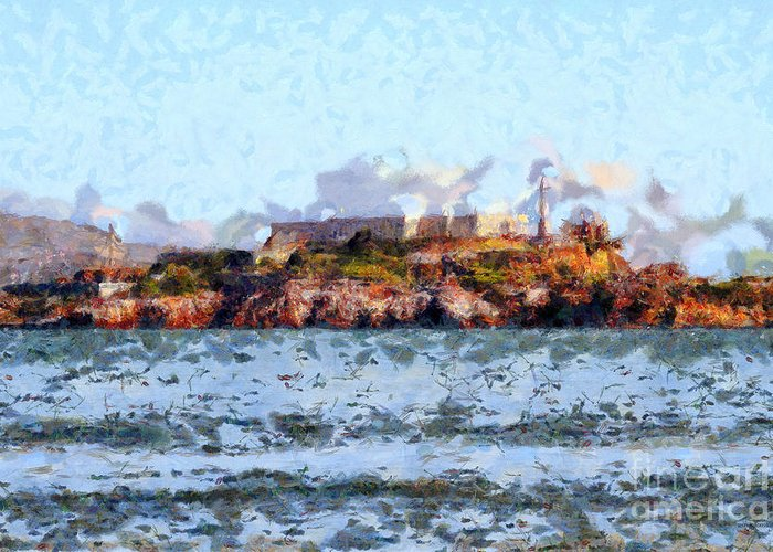 San Francisco Greeting Card featuring the photograph Alcatraz Island In San Francisco California . 7d14031 by Wingsdomain Art and Photography