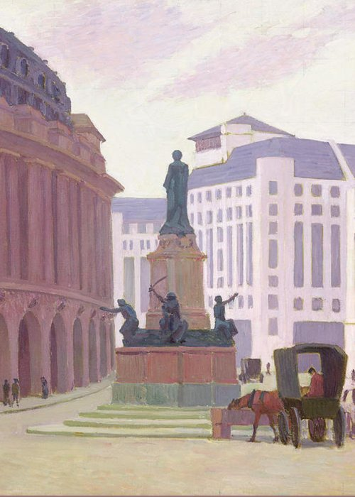 Aldwych Greeting Card featuring the painting Aldwych by Robert Polhill Bevan
