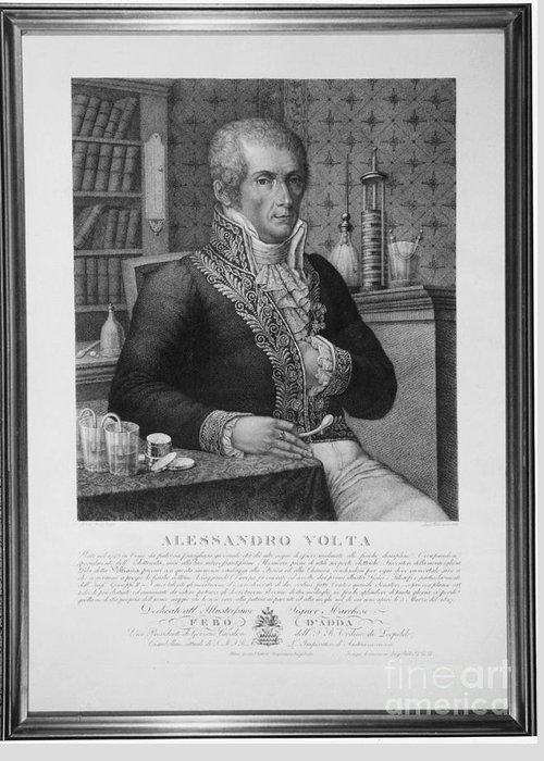 Science Greeting Card featuring the photograph Alessandro Volta, Italian Physicist by Omikron