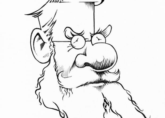 Alfred Russel Wallace Greeting Card featuring the photograph Alfred Wallace, Caricature by Gary Brown