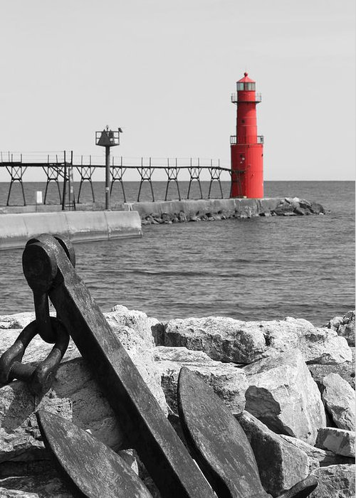 Algoma Greeting Card featuring the photograph Algoma Lighthouse Is Anchored by Mark J Seefeldt