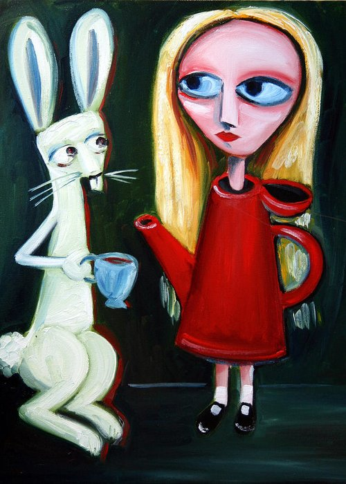 Alice Greeting Card featuring the painting Alice A Tea Pot by Leanne Wilkes