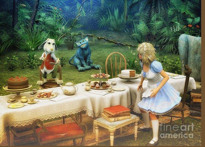 3d Greeting Card featuring the digital art Alice In Wonderland by Jutta Maria Pusl