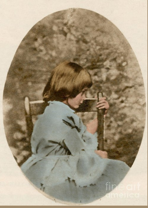 Historic Greeting Card featuring the photograph Alice Liddell, Alices Adventures by Science Source