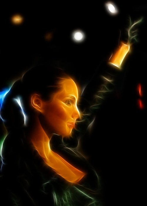 Lee Dos Santos Greeting Card featuring the photograph Alicia Keys - Singer by Lee Dos Santos