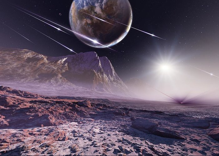 Planet Greeting Card featuring the photograph Alien Meteorite Shower, Artwork by Detlev Van Ravenswaay