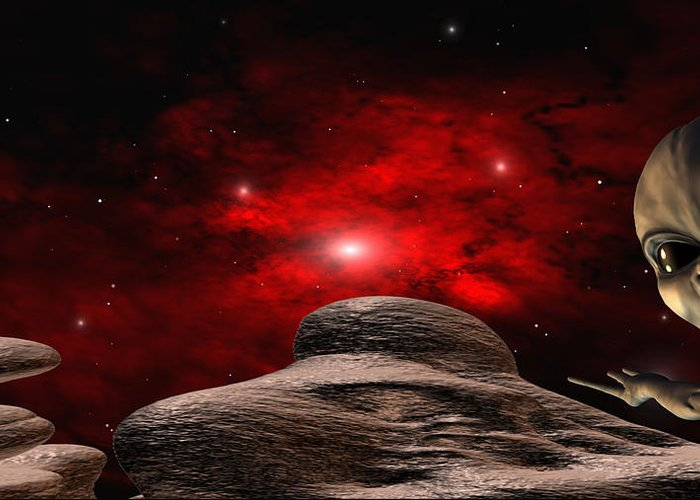 Space Greeting Card featuring the digital art Alien Planet by Robert aka Bobby Ray Howle