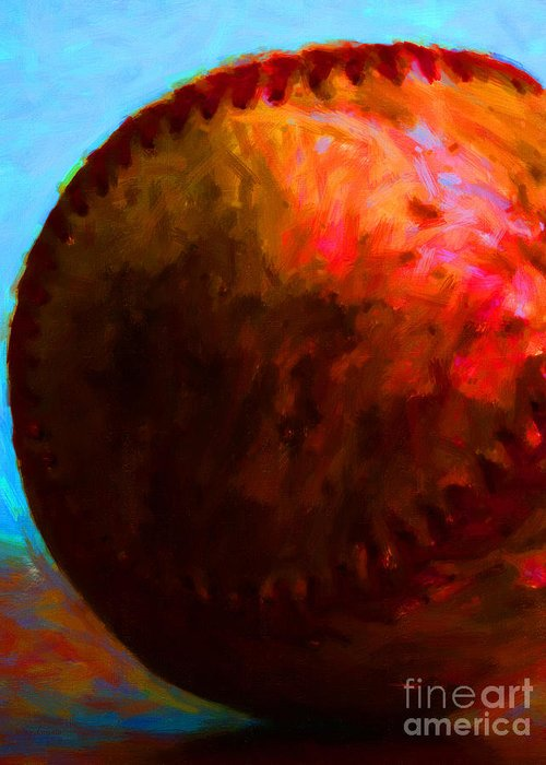 Baseball Greeting Card featuring the photograph All American Pastime - Baseball Version 3 - Painterly by Wingsdomain Art and Photography