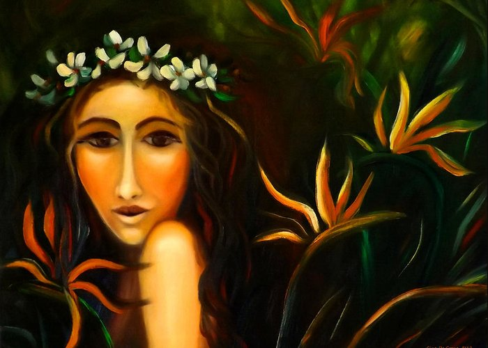 Girls Greeting Card featuring the painting All That by Gina De Gorna