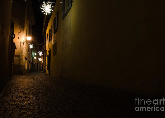 Alley Greeting Card featuring the photograph Alley In Night With Lights by Mats Silvan