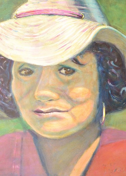 Portrait Greeting Card featuring the painting Allie by Bob Rowell