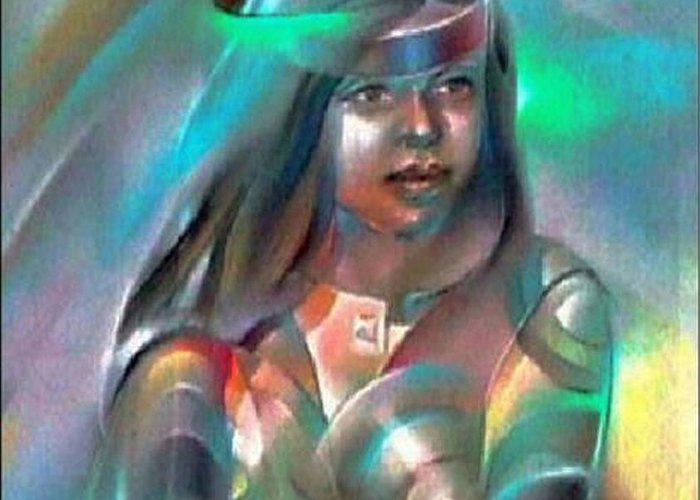 Elder Sister Greeting Card featuring the pastel Alma 1980 by Glenn Bautista