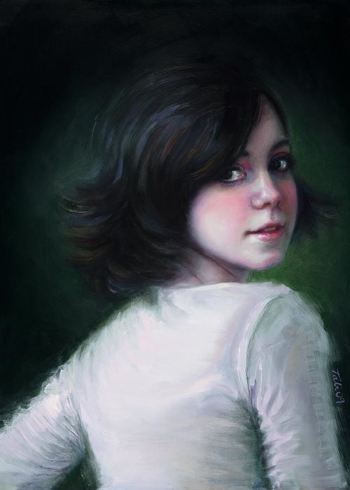 Girl Greeting Card featuring the painting Almost Ready by Talya Johnson
