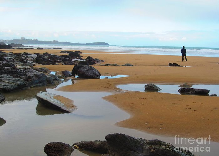 Alone Greeting Card featuring the photograph Alone On The Beach by C Lythgo
