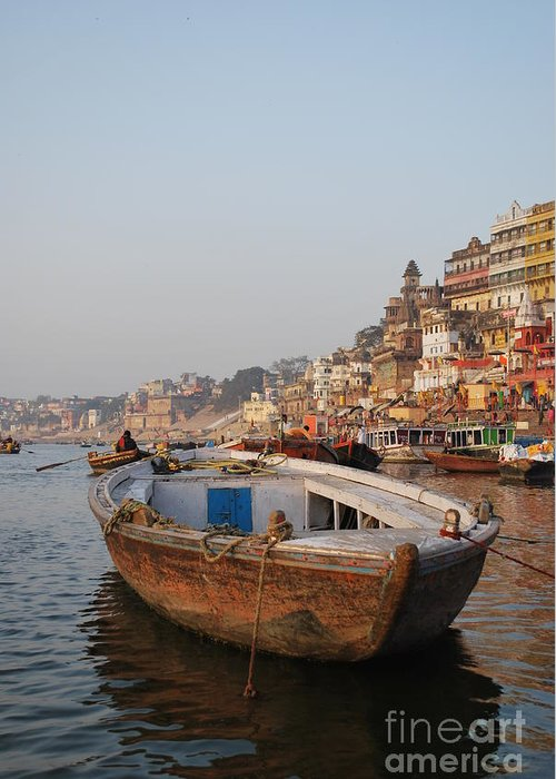 Varanasi Greeting Card featuring the photograph Alone On The Ganges by Jen Bodendorfer