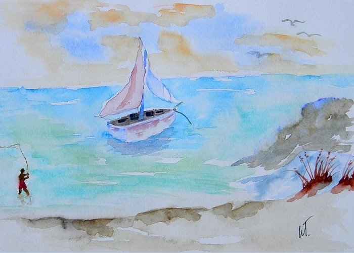 Along The Gulf Greeting Card featuring the painting Along The Gulf by Warren Thompson