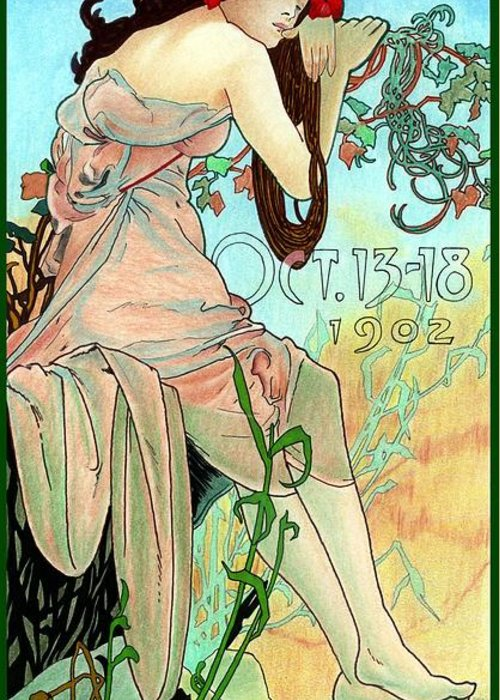Alphonse Mucha Greeting Card featuring the mixed media Alphonse Expo by Lyle Brown