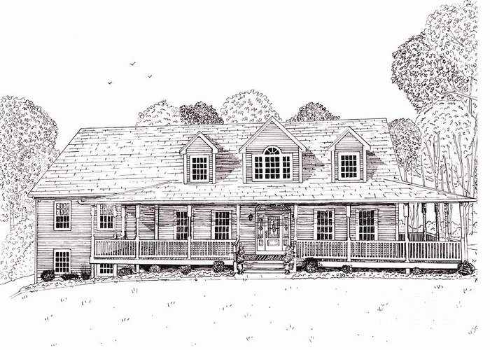 Architectural Drawing Greeting Card featuring the drawing Al's House  by Michelle Welles